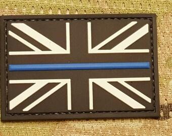 PVC THIN BLUE line uk british police flag united kingdom union jack patch