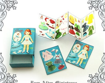 SUZY Miniature Paper Doll – 1:12 Blue Vintage Dollhouse Miniature DIY Paper Doll Matchbox Dress Up Paper Doll Match Box Printable DOWNLOAD