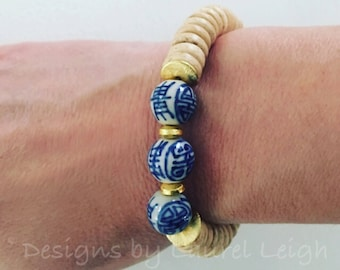 Blue and White Chinoiserie Bracelet | beaded, natural, tan, stretchy, gold, Designs by Laurel Leigh