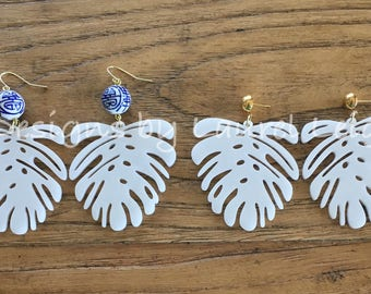 Chinoiserie Tropical Leaf Earrings, WHITE, blue and white, gold, banana leaf, palm leaf, lightweight, Designs by Laurel Leigh