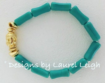 GOLD and TURQUOISE Bamboo Buddha Beaded Bracelet | gemstone, gold plated, stretchy, Designs by Laurel Leigh