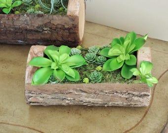 Bright green artificial succulent flower arrangement, Tree bark flower pot with real preserved moss, home decor nature art