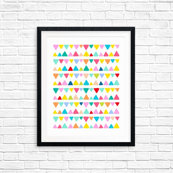 Printable Art, Colorful Triangle Lines, Pattern, Modern Art, Minimalist Art, Art Printable, Home Decor, Digital Download Print