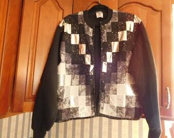 Vintage Quilted Sweatshirt Jacket Handmade Size Medium by JerZees