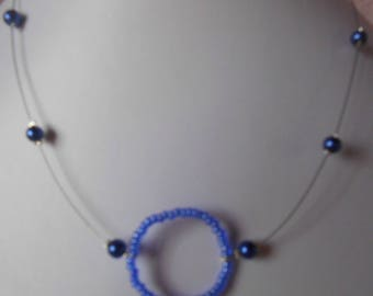 Wedding necklace with circle of life blue