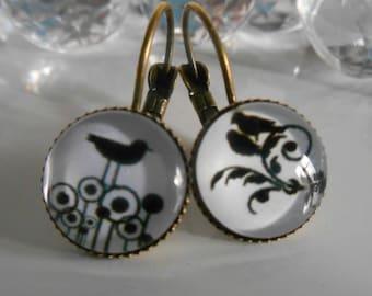"""""""Poetic birds"""" Stud Earrings cabochon glass"""