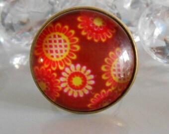 "Ring bronze ""large vintage floral"" glass cabochon"
