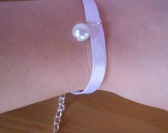 Satin White Pearl wedding bracelet