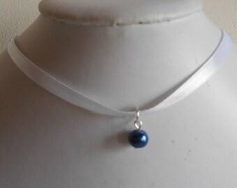 Navy wedding adult/child white satin ribbon and blue pendant necklace