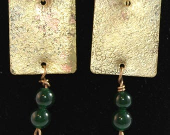 Etched brass earrings with green beads. (061617-019)