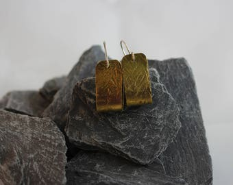 Brass Etched Earrings (082017-029)