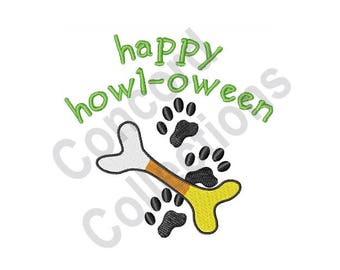 Happy Howl-Oween - Machine Embroidery Design, Dog - Machine Embroidery Design, Halloween - Machine Embroidery Design