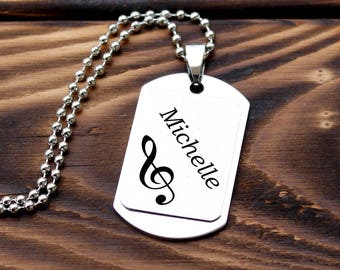 Personalized music necklace, musician necklace, guitarist necklace, pianist necklace, guiatrist gift, pianist gift, drummer gift, music gift
