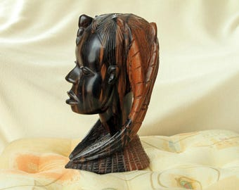 AFRICAN WOOD SCULPTURE of Woman's Head