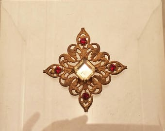 Gold and Red Diamond Costume Brooch by Miriam Haskell