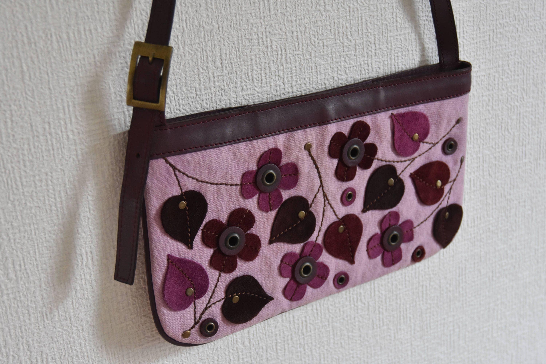 477c4a7a0612 Authentic Vintage Max Co Max Mara Genuine Leather Handbag Shoulder Bag  Suede Canvas Purple Flowers Pink Purse