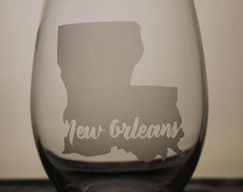 New Orleans Glass - Wine Glass - Louisiana - State Pride - State Love - Gift Ideas - Gifts for Him - Customization - Personalization