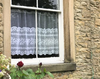 "Valance lace panel white Scottish cotton lace cafe curtain 35"" drop sold per metre yardage"