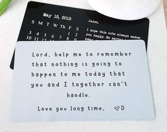 Love Accessory Metal Wallet Insert Card State to State Message Anniversary card Engrave Handwriting Custom Handwritten boyfriend wife W21