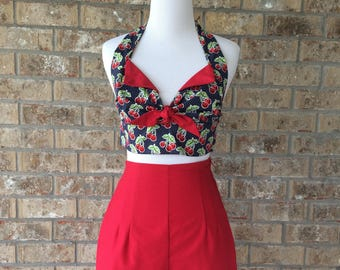 Handmade Retro Red Cherry Playsuit Slim High Waisted Shorts Navy Blue Cherries Halter Set Rockabilly Vintage Pinup Side Zip 0 1 2 3 XS S