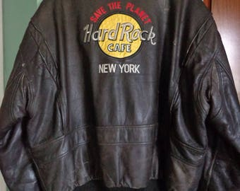 Hard Rock Cafe Brown leather Bomber Motorcycle Jacket Sz M 1980's