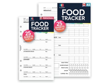 PRINTED Food tracker Insert A5 / Personal Filofax A5 Kikki.K Large Compatible Refill Coloured