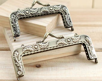 Vintage Style Kisslock Frame Hoop w/ Pearl Bead for Bag Purse, 9.5 cm / 3.6 inch, 12 cm/ 4.7 inch, 1 PCS