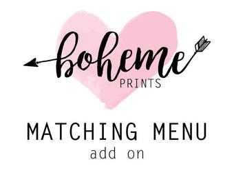 ADD ON Matching Menu Card Printable Menu Card Customizable Menu Card