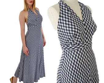 70s Navy White Check Halter Dress-1970s Maxi Dress-70's Long Summer Dress-Jersey-Backless-vfg-S-Small