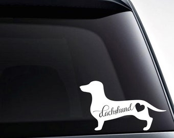 Dachshund Heart Vinyl Decal Sticker / Car Windows, Tumblers, Laptop Decals