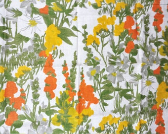 100% Linen Fabric Mid Century Vintage Vat Color Screen Printed Floral 48 x 38