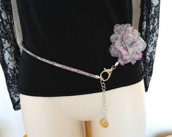Belt fine way purple python, purple, handmade chiffon flower