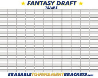 FANTASY FOOTBALL DRAFT Kit Board - Holds 12 Teams 22 Rounds - Reusable With Marker