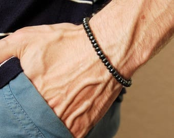 Mens Hematite Bracelet Mens Protection Bracelet Surfer Bracelet Mens Healing Bracelet Hematite Mala Bracelet Mens Gemstone Jewelry
