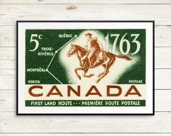 P038 Large Poster: Postrider and Map, 1963, First Land Route, Quebec, Montreal, Trois-Rivieres, Canada Stamp, Canada Stamp Art, Horse Art