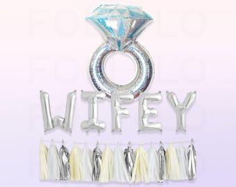 "Engagement Party Set   38"" Holographic Ring Balloon   WIFEY Balloon Set   Silver Tassel Garland   Bachelorette Balloon Set"
