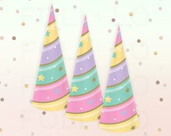 Unicorn Hats | Pastel Unicorn Horn Hats | Rainbow Unicorn Theme | Unicorn Party Theme | Unicorn Decorations | Party Hats | Set of 8