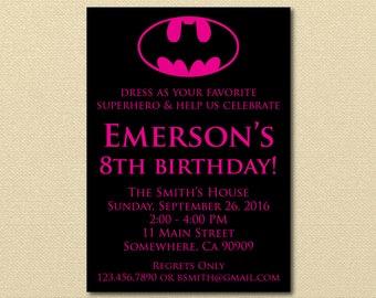 Batgirl Invitation, Girl Batman, Superhero Birthday Party, girl super hero, comic, Digital Invitation, Printable Invitation, Hot Pink Batman