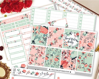 So Floral Vertical Kit Planner Stickers | Weekly Kit Stickers | Floral Wreath Stickers