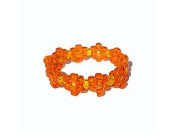 Orange bead flower ring, bead ring, flower bead ring, seed bead ring, orange ring, flower rings, handmade ring, beaded ring, beaded ring