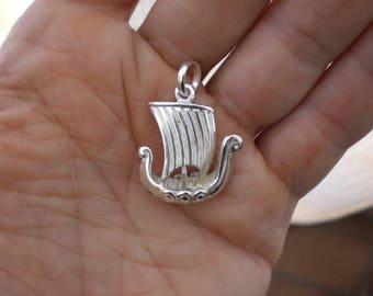 Viking ship Drakkar silver pendant