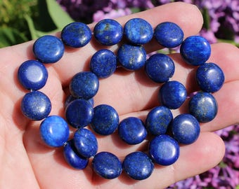 2 LAPIS LAZULI BLUE 12 X 5 MM FLAT ROUND BEADS. AT7