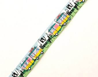 "RV There Yet? | RV Ribbon | Travel Time | Summer Ribbon | Hair Bow Ribbon | US Designer Ribbon | 7/8"" Ribbon 