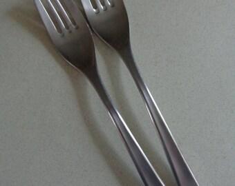 WMF Cromargan Domus Flatware 2 Stainless Dinner Forks, modern design silverware