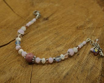 Rhodonite, rose quartz, Crystal bracelet