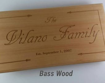 Custom Engraved Family Sign / Plaque - Solid Wood