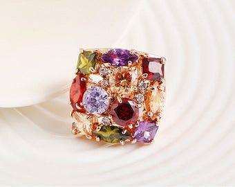 Vintage Rainbow Crystal ring