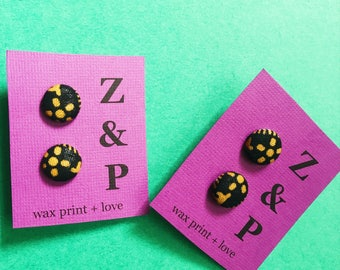 African Print Earrings // Black and Yellow Wax Print Earrings // Stud Earrings // Button Earrings