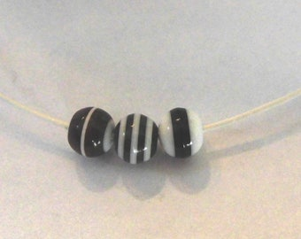 6 black, Brown and white striped resin beads - 6mm