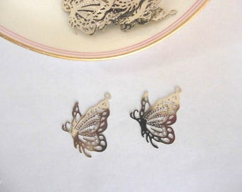 Set of 2 filigree silver metal Butterfly charms - 25 * 20mm